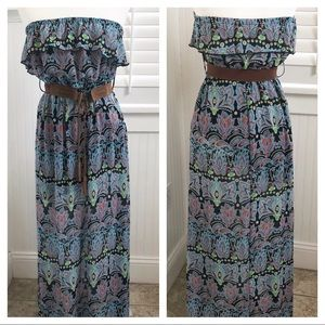 No Boundaries NWOT Strapless, Belted Maxi Dress S